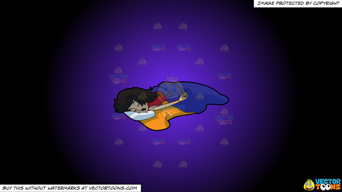 A Woman Sleeping So Soundly And Comfortably On A Purple And Black Gradient Background thumbnail