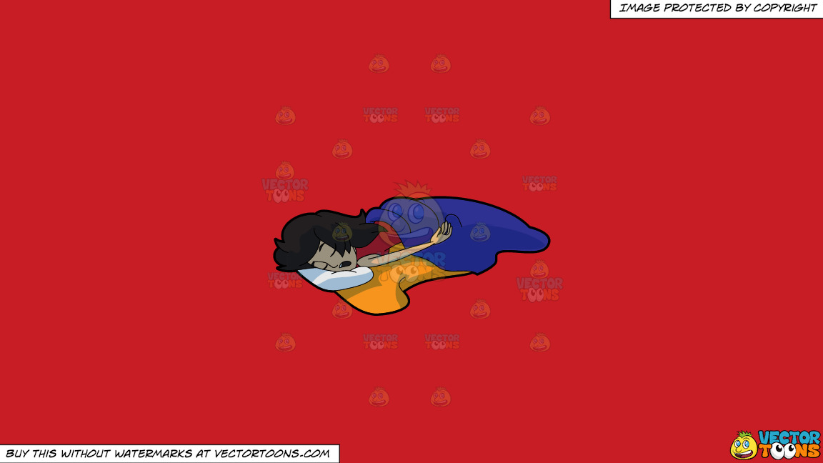 A Woman Sleeping So Soundly And Comfortably On A Solid Fire Engine Red C81d25 Background thumbnail