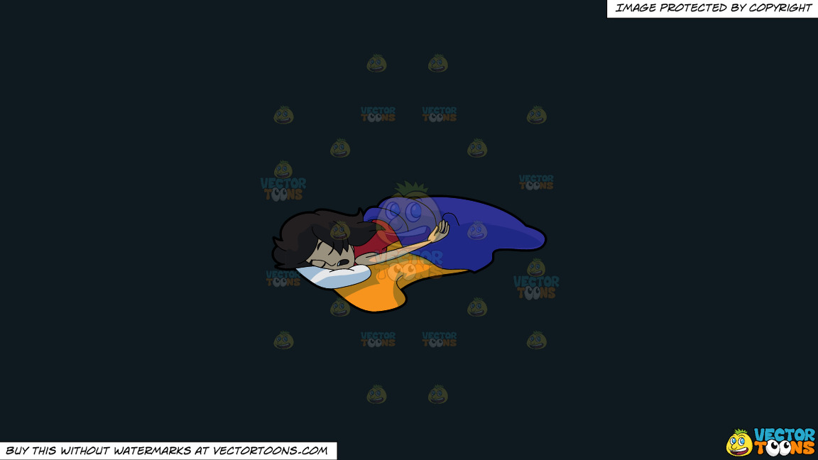 A Woman Sleeping So Soundly And Comfortably On A Solid Off Black 0f1a20 Background thumbnail
