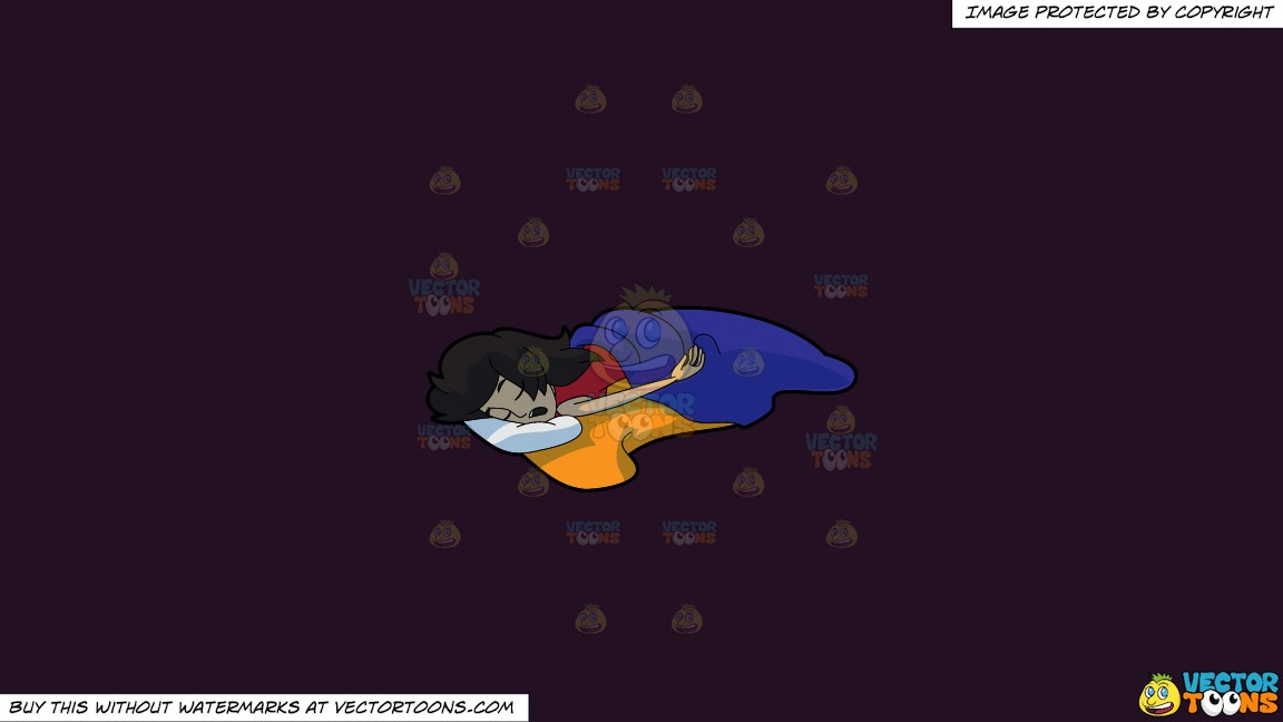 A Woman Sleeping So Soundly And Comfortably On A Solid Purple Rasin 241023 Background thumbnail