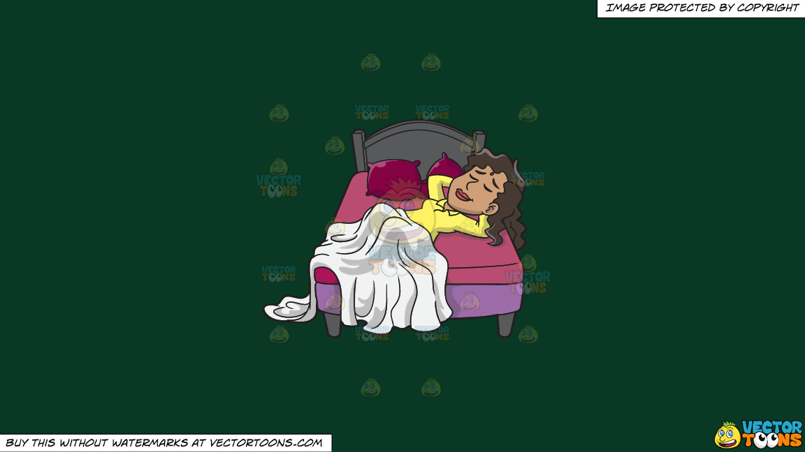 A Woman Sleeping Soundly On A Solid Dark Green 093824 Background thumbnail