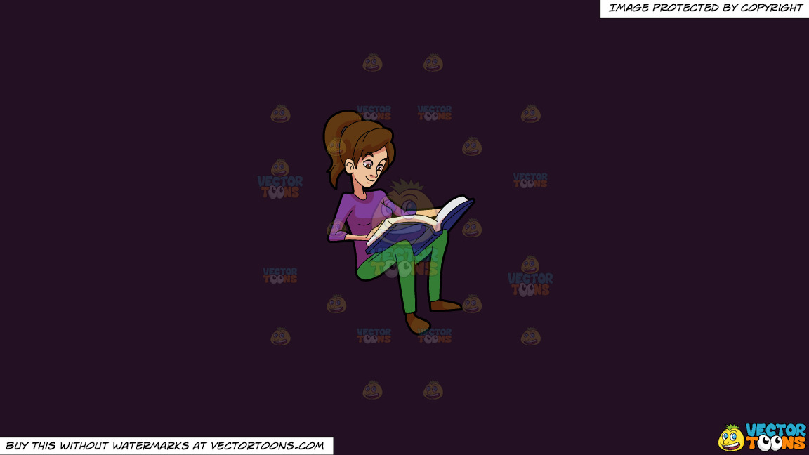 A Woman Smiles While Reading A Book On A Solid Purple Rasin 241023 Background thumbnail