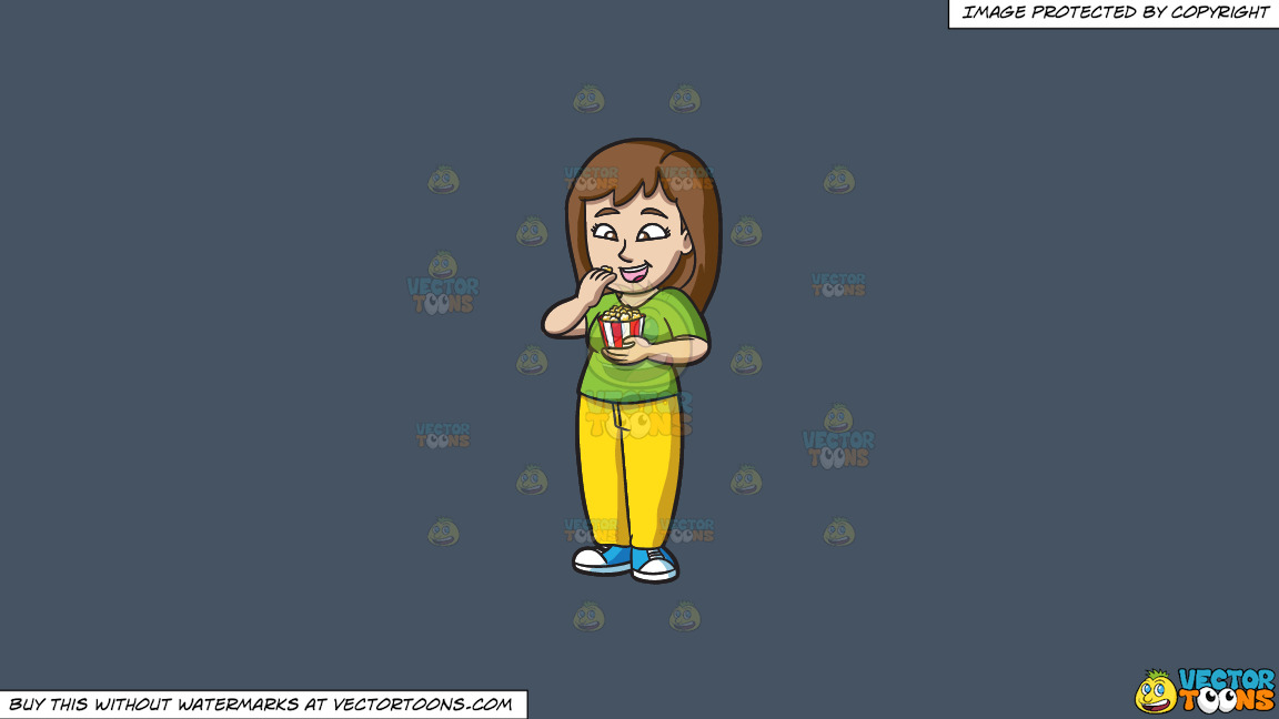 A Woman Snacking On Buttered Popcorn On A Solid Metal Grey 465362 Background thumbnail