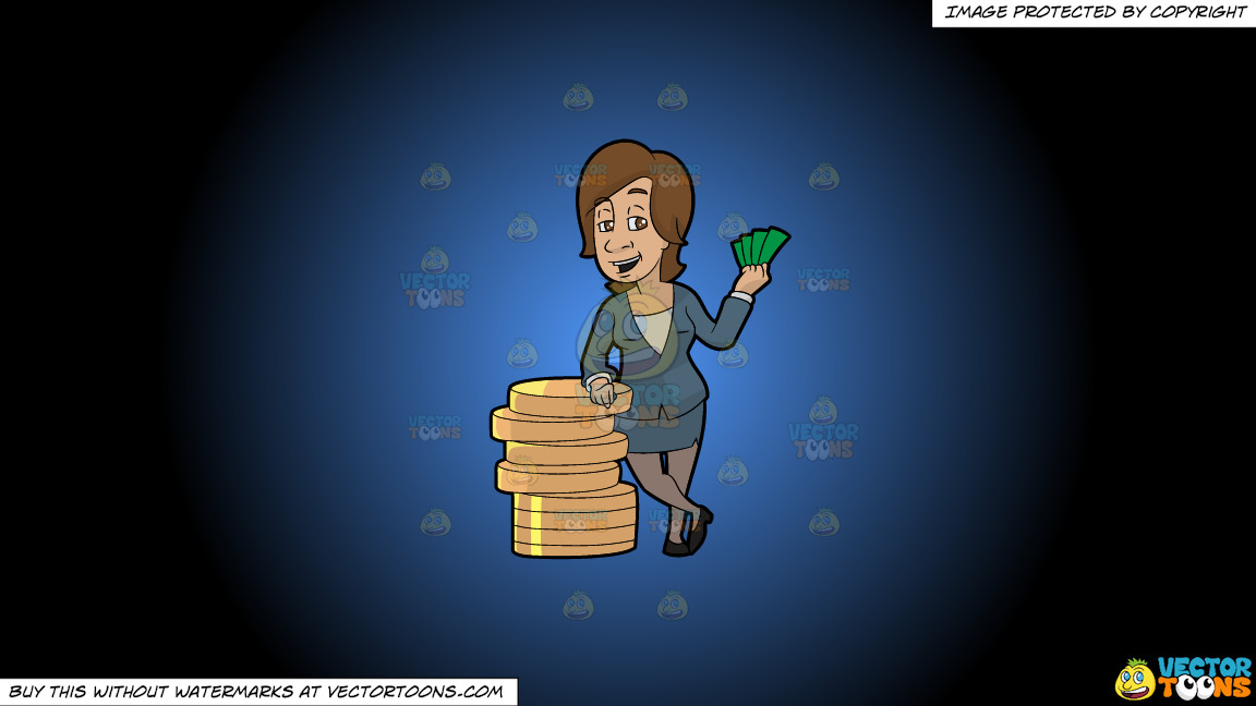A Woman Standing Next To A Big Stack Of Coins On A Blue And Black Gradient Background thumbnail