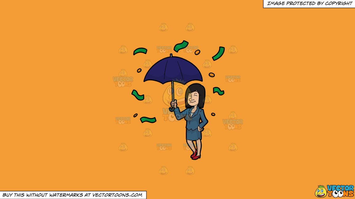 A Woman Standing Under An Umbrella As Money Rains Down On Her On A Solid Deep Saffron Gold F49d37 Background thumbnail