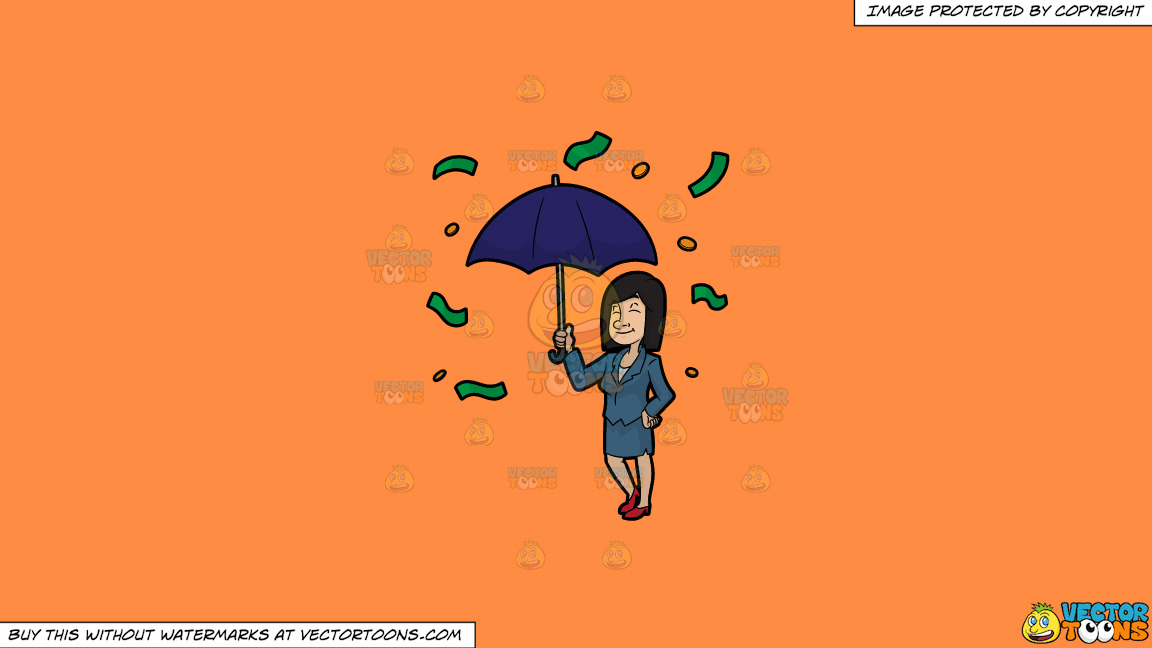 A Woman Standing Under An Umbrella As Money Rains Down On Her On A Solid Mango Orange Ff8c42 Background thumbnail
