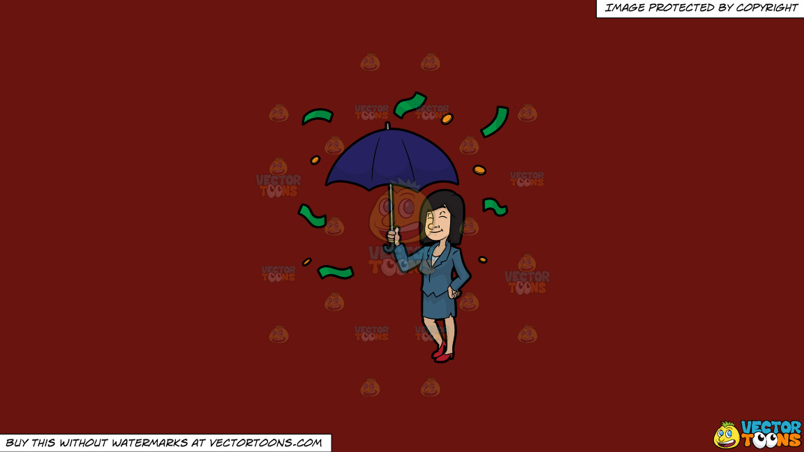 A Woman Standing Under An Umbrella As Money Rains Down On Her On A Solid Maroon 69140e Background thumbnail
