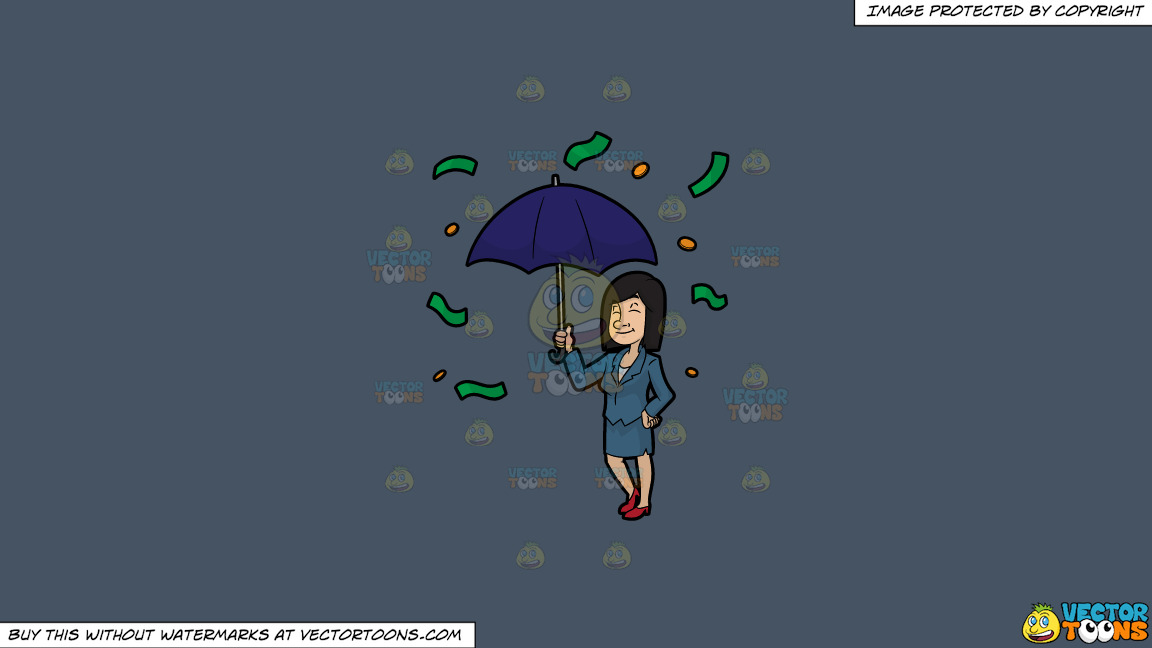 A Woman Standing Under An Umbrella As Money Rains Down On Her On A Solid Metal Grey 465362 Background thumbnail