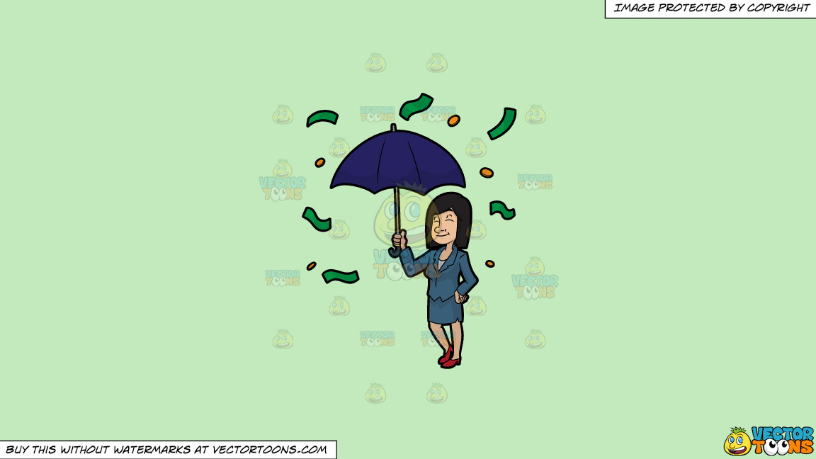A Woman Standing Under An Umbrella As Money Rains Down On Her On A Solid Tea Green C2eabd Background thumbnail
