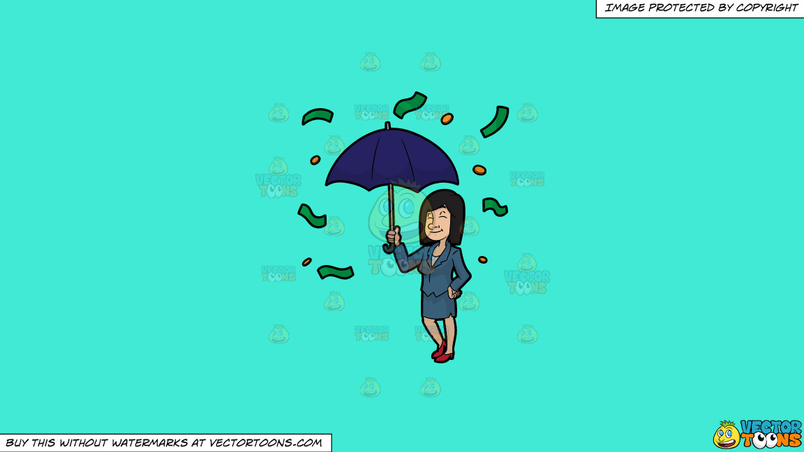 A Woman Standing Under An Umbrella As Money Rains Down On Her On A Solid Turquiose 41ead4 Background thumbnail