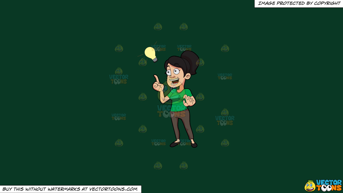 A Woman Suddenly Thinks Of An Idea On A Solid Dark Green 093824 Background thumbnail
