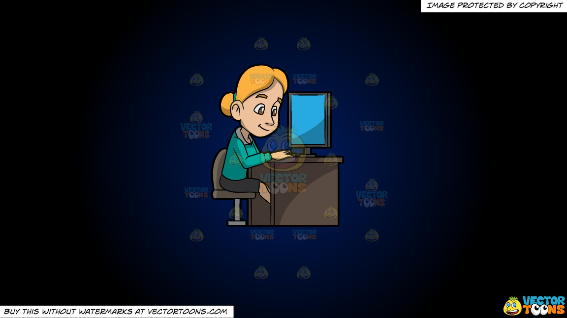 A Woman Surfing The Internet While In The Office On A Dark Blue And Black Gradient Background thumbnail
