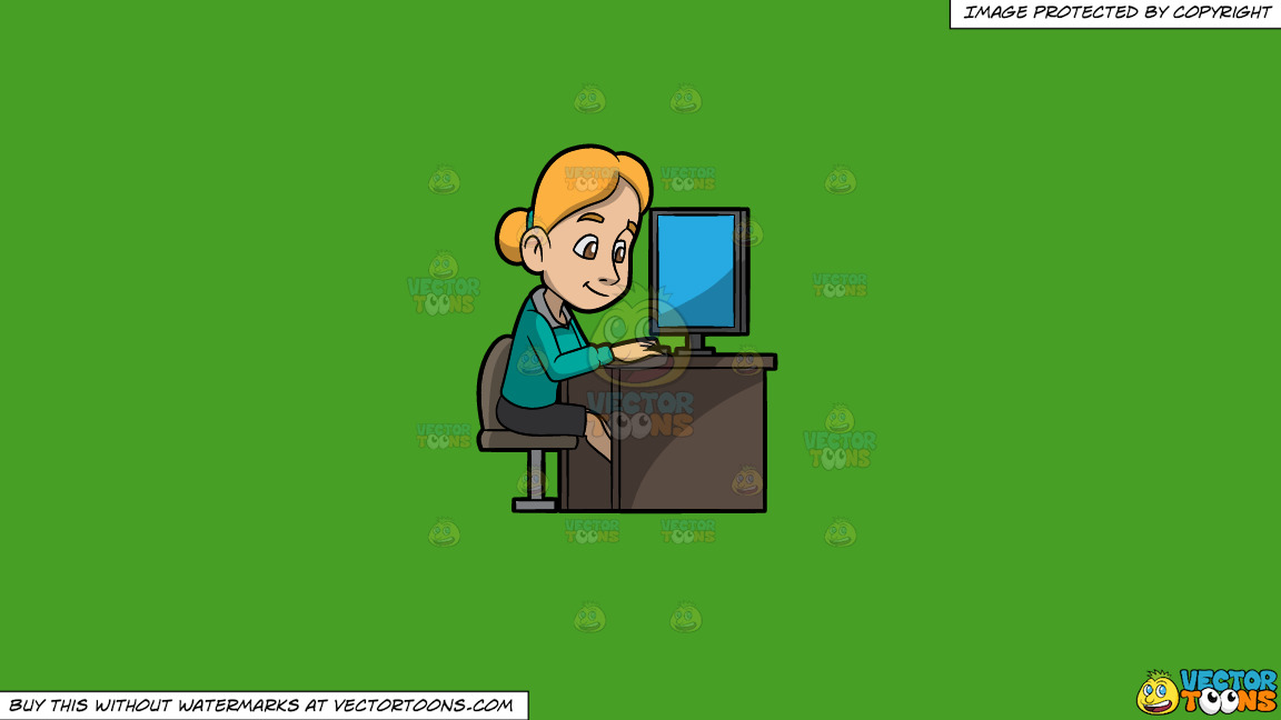 A Woman Surfing The Internet While In The Office On A Solid Kelly Green 47a025 Background thumbnail