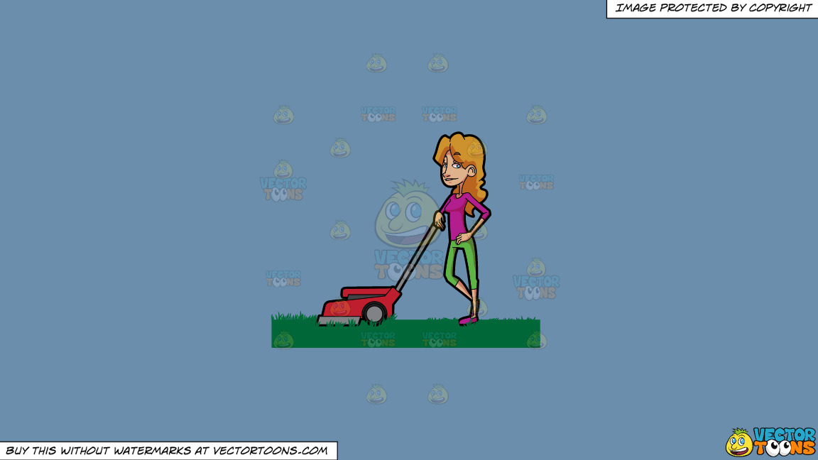 A Woman Takes A Break From Cutting The Grass With A Lawn Mower On A Solid Shadow Blue 6c8ead Background thumbnail