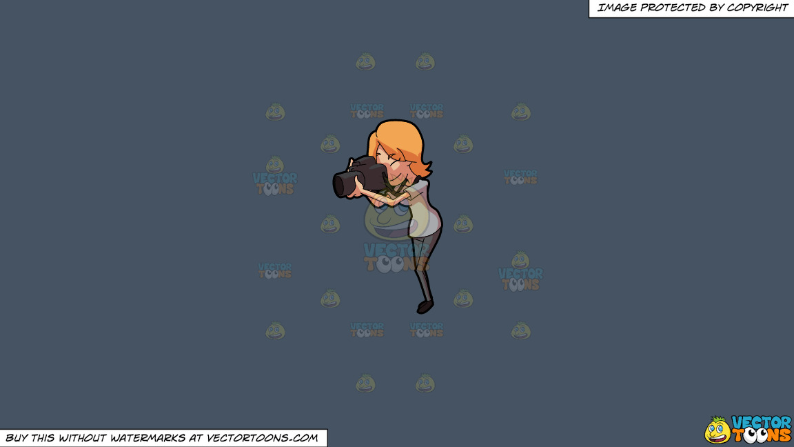 A Woman Takes A Photo Using A Pro Camera On A Solid Metal Grey 465362 Background thumbnail