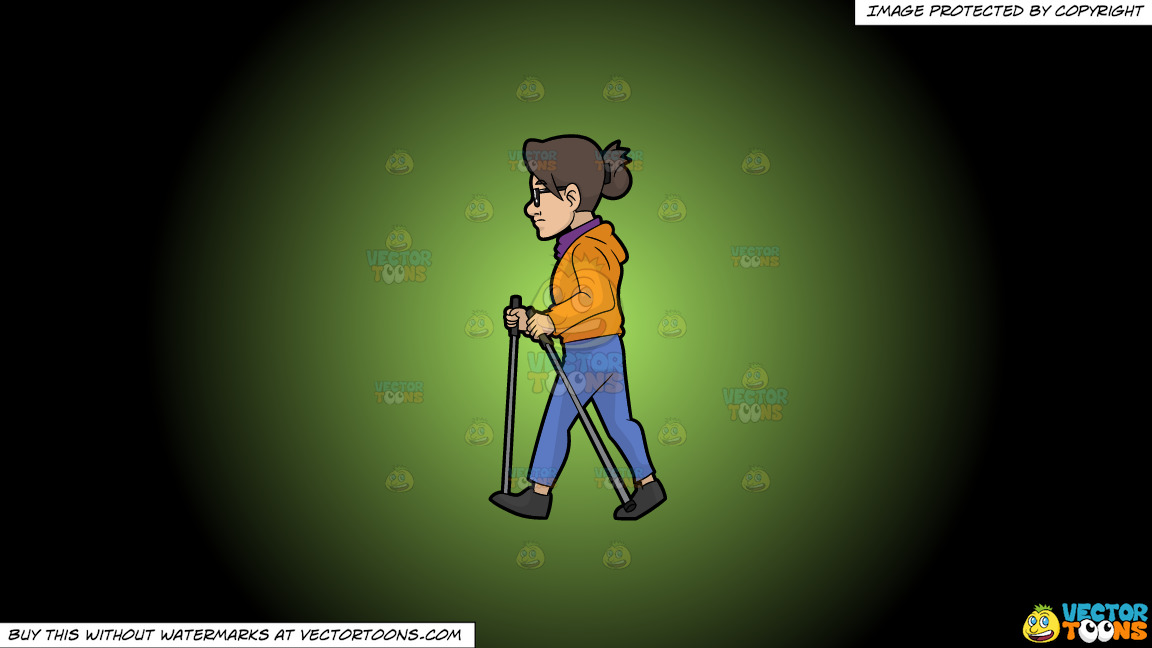 A Woman Taking A Walk With Waking Poles On A Green And Black Gradient Background thumbnail
