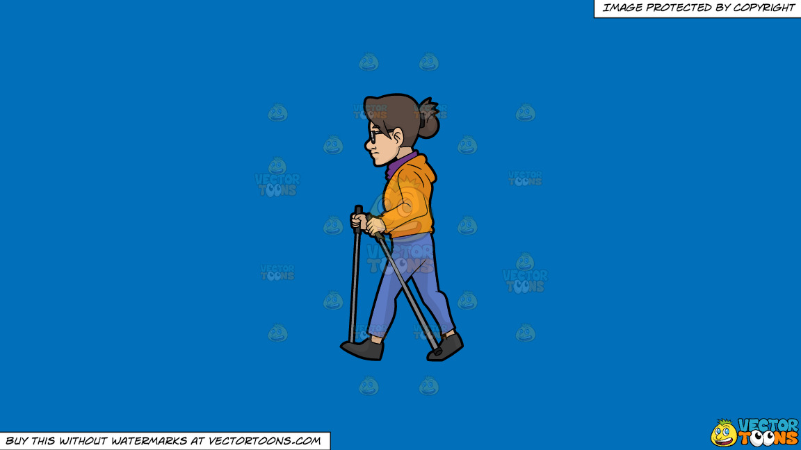 A Woman Taking A Walk With Waking Poles On A Solid Spanish Blue 016fb9 Background thumbnail