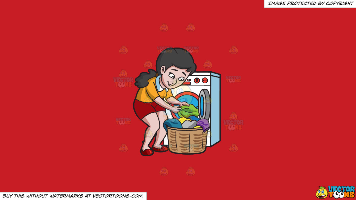 A Woman Taking Out Her Washed Clothes On A Solid Fire Engine Red C81d25 Background thumbnail