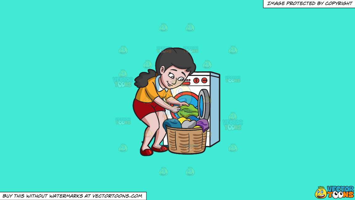 A Woman Taking Out Her Washed Clothes On A Solid Turquiose 41ead4 Background thumbnail