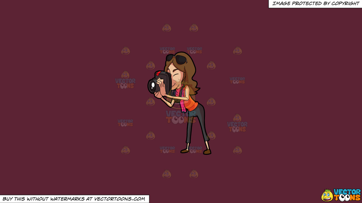 A Woman Taking Pictures On A Solid Red Wine 5b2333 Background thumbnail