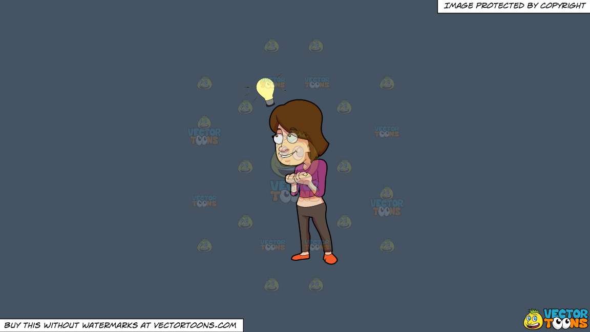 A Woman Thinks Of A Bright Idea On A Solid Metal Grey 465362 Background thumbnail
