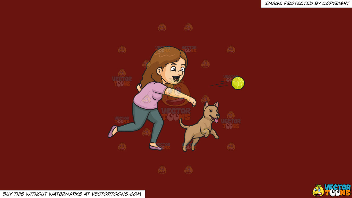 A Woman Throwing A Ball For Her Dog On A Solid Maroon 69140e Background thumbnail