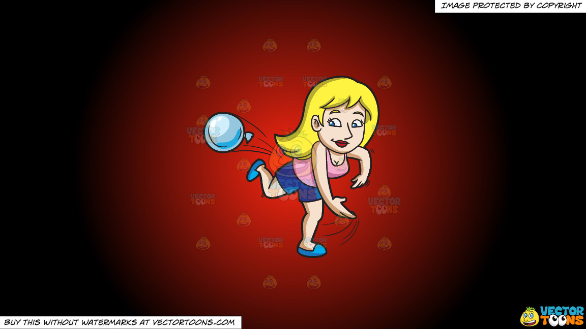 A Woman Throwing A Water Balloon During A Summer Party On A Red And Black Gradient Background thumbnail