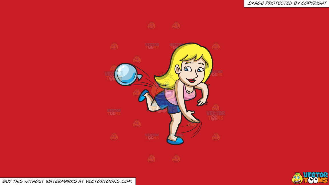 A Woman Throwing A Water Balloon During A Summer Party On A Solid Fire Engine Red C81d25 Background thumbnail
