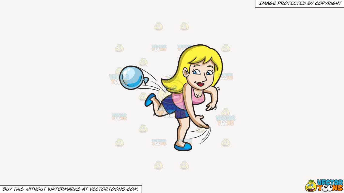 A Woman Throwing A Water Balloon During A Summer Party On A Solid White Smoke F7f4f3 Background thumbnail