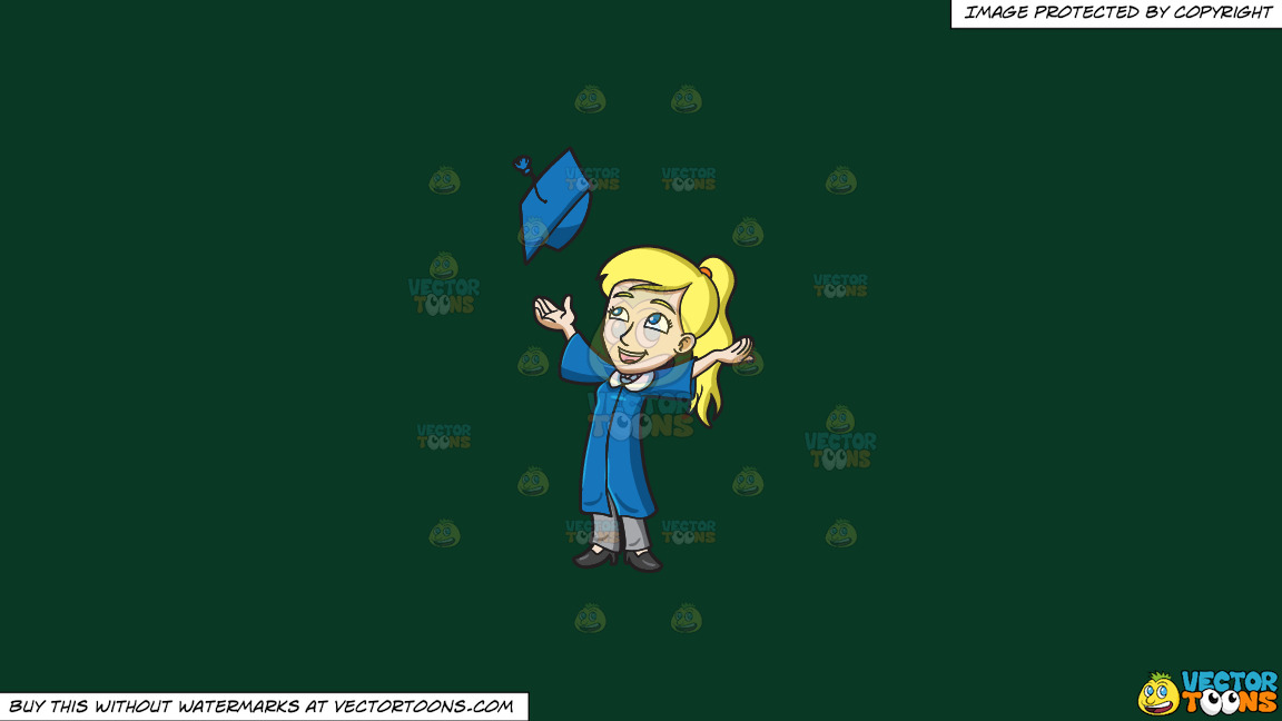 A Woman Tossing Her Graduation Cap On A Solid Dark Green 093824 Background thumbnail