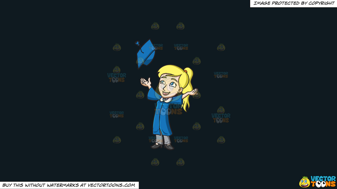 A Woman Tossing Her Graduation Cap On A Solid Off Black 0f1a20 Background thumbnail