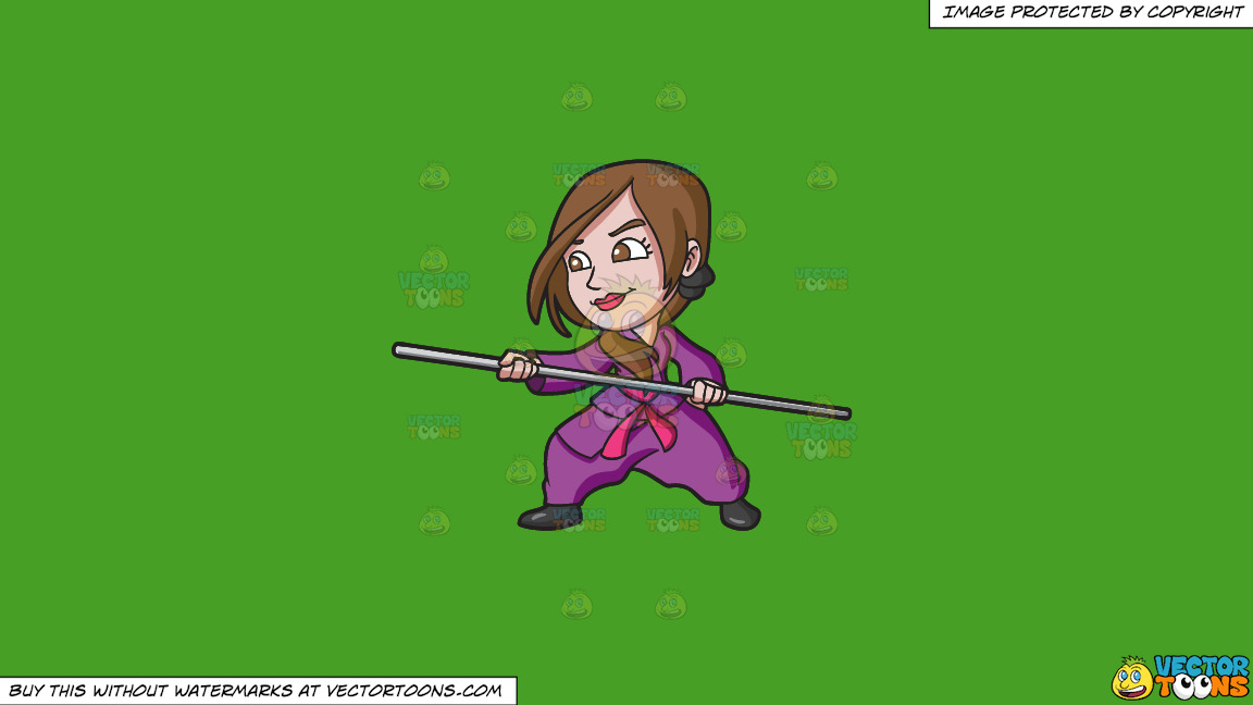 A Woman Training Martial Arts With A Stick On A Solid Kelly Green 47a025 Background thumbnail