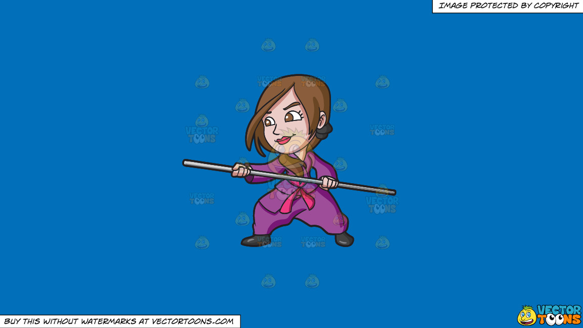 A Woman Training Martial Arts With A Stick On A Solid Spanish Blue 016fb9 Background thumbnail
