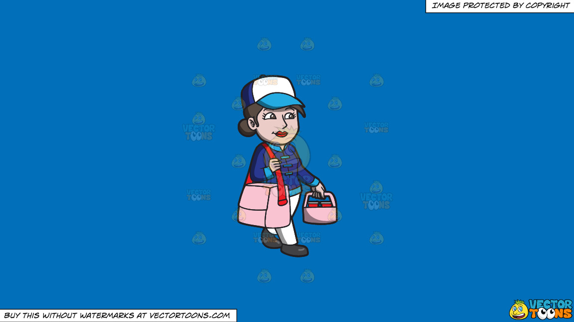A Woman Transporting Food Orders To Houses On A Solid Spanish Blue 016fb9 Background thumbnail