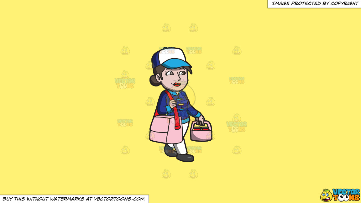 A Woman Transporting Food Orders To Houses On A Solid Sunny Yellow Fff275 Background thumbnail