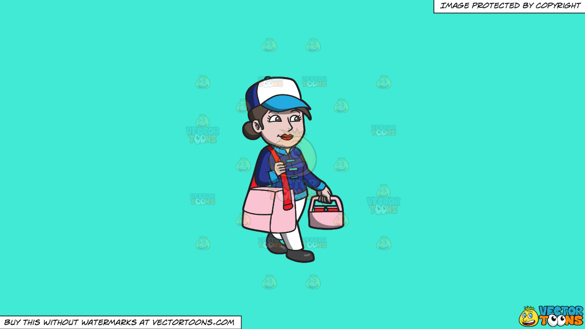 A Woman Transporting Food Orders To Houses On A Solid Turquiose 41ead4 Background thumbnail