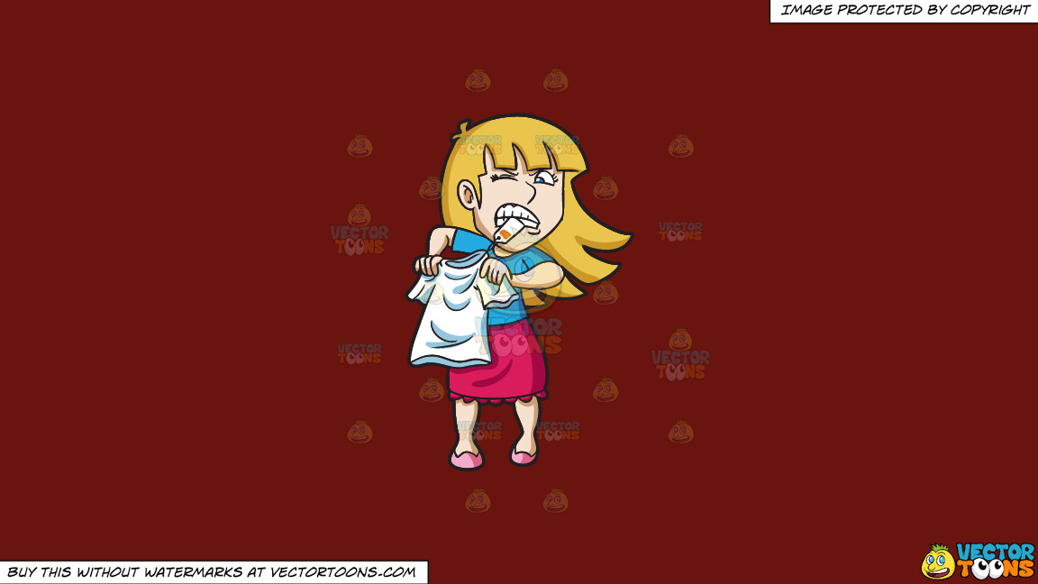 A Woman Trying To Pull Off A Clothing Tag With Her Teeth On A Solid Maroon 69140e Background thumbnail
