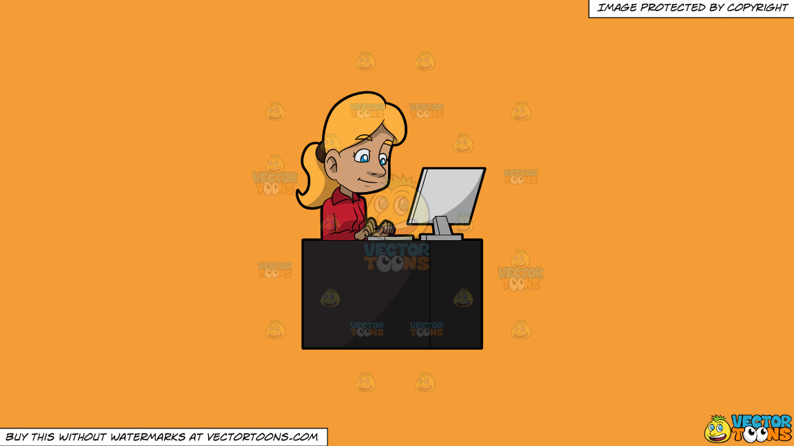A Woman Typing An Email Using Her Office Desktop Computer On A Solid Deep Saffron Gold F49d37 Background thumbnail