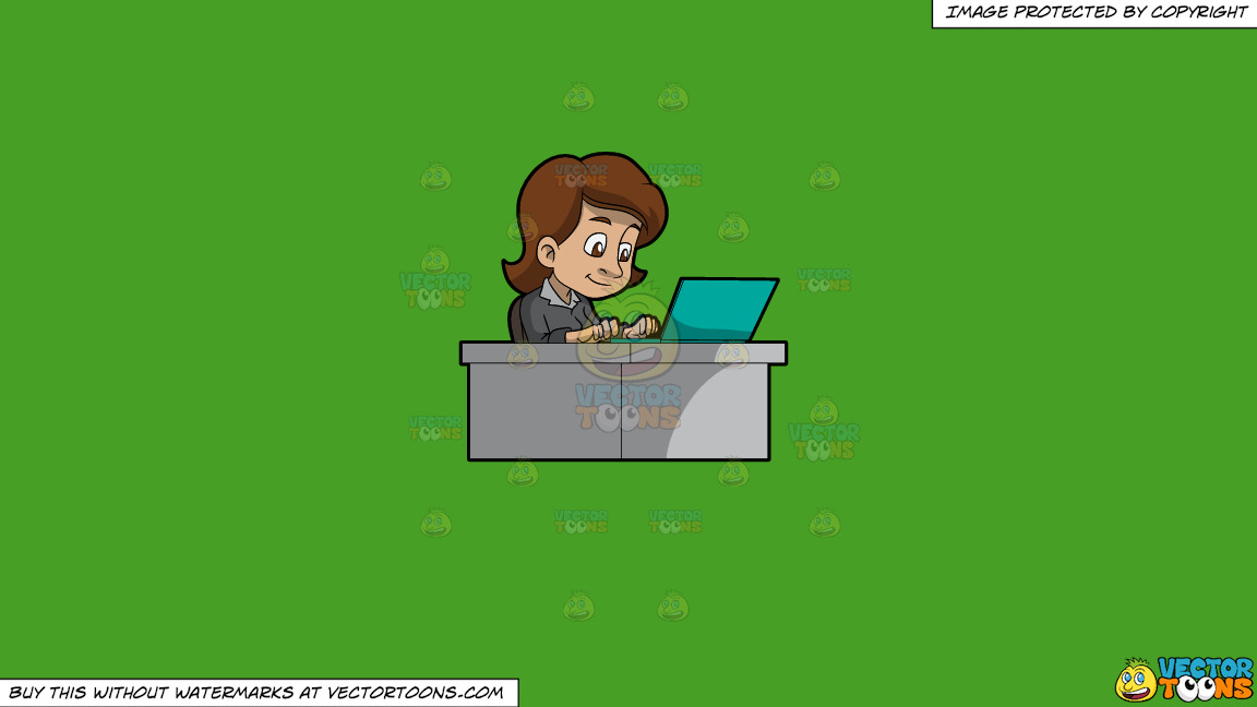 A Woman Typing On Her Office Laptop On A Solid Kelly Green 47a025 Background thumbnail