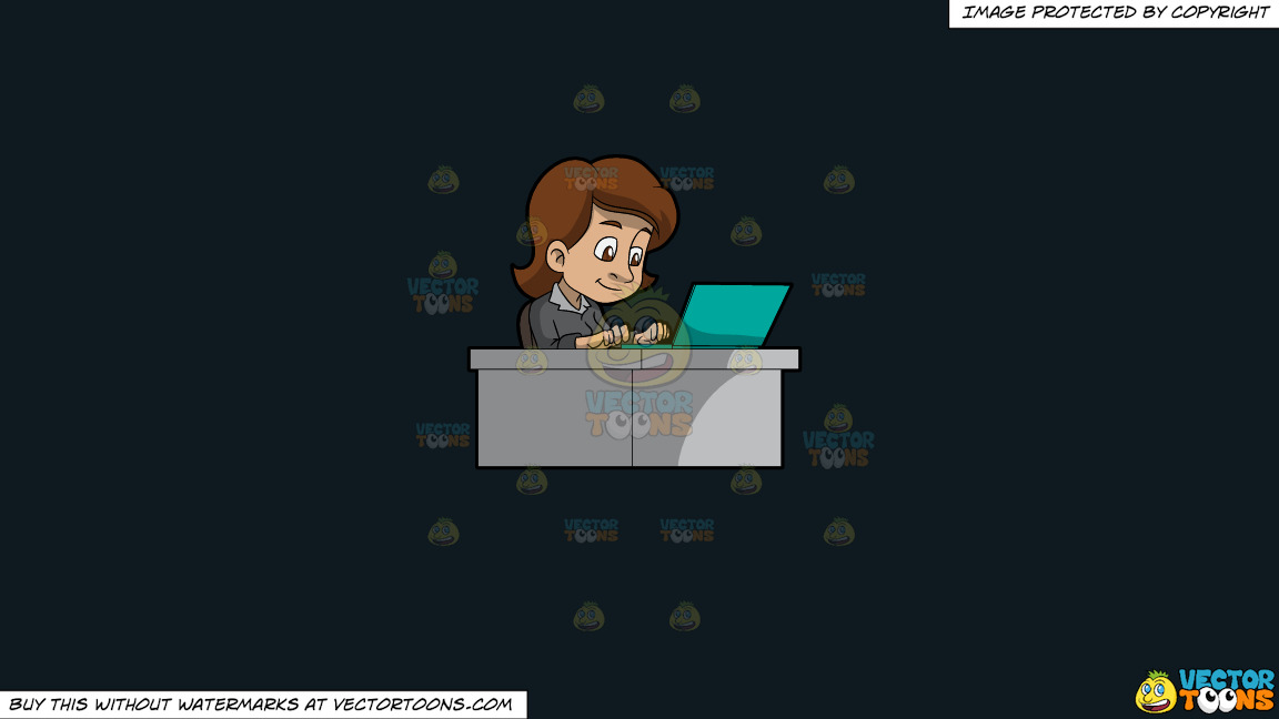 A Woman Typing On Her Office Laptop On A Solid Off Black 0f1a20 Background thumbnail