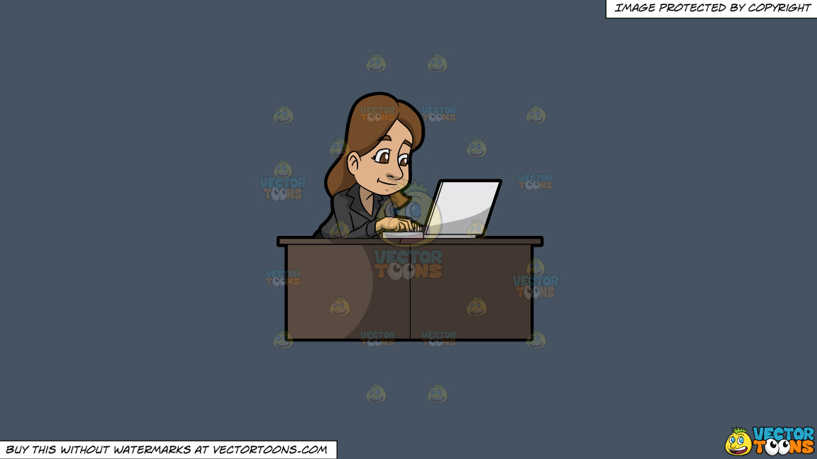 A Woman Using Her Office Laptop To Surf The Internet On A Solid Metal Grey 465362 Background thumbnail