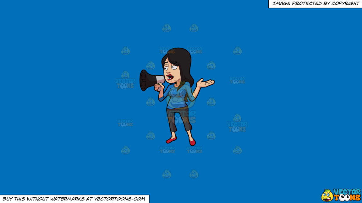 A Woman Voicing Out Her Concern Using A Megaphone On A Solid Spanish Blue 016fb9 Background thumbnail