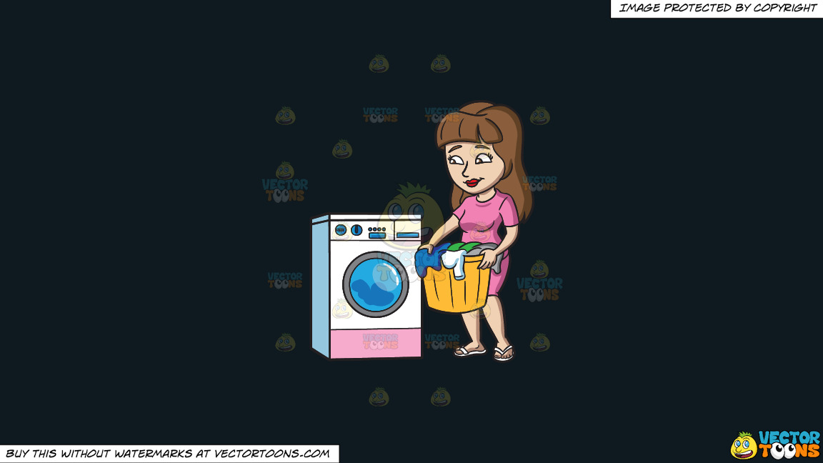 A Woman Waiting For Her Load Of Laundry To Finish On A Solid Off Black 0f1a20 Background thumbnail