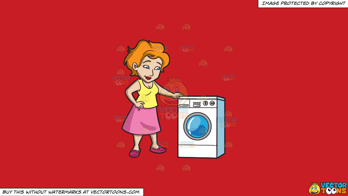 A Woman Waits For Her Laundry To Finish On A Solid Fire Engine Red C81d25 Background thumbnail
