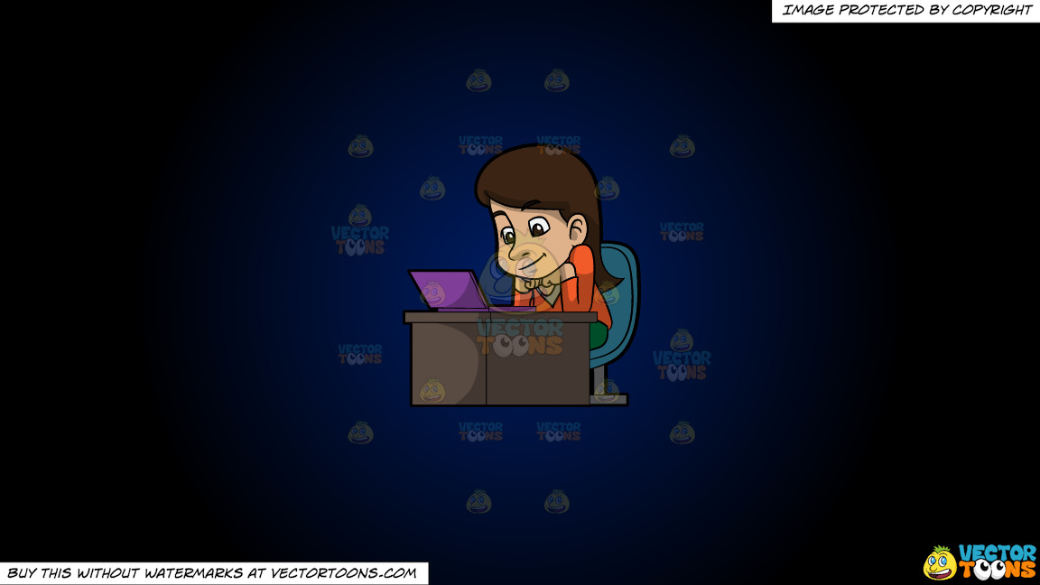 A Woman Watching A Video From Her Laptop On A Dark Blue And Black Gradient Background thumbnail