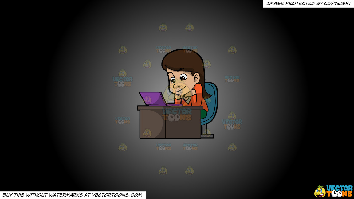 A Woman Watching A Video From Her Laptop On A Grey And Black Gradient Background thumbnail
