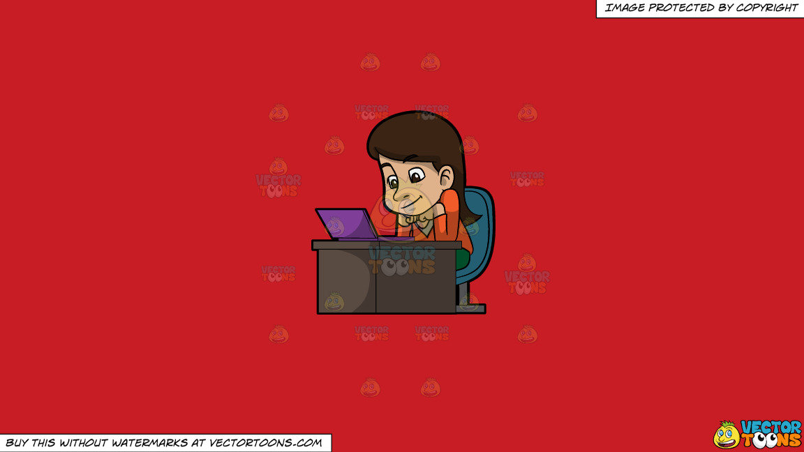 A Woman Watching A Video From Her Laptop On A Solid Fire Engine Red C81d25 Background thumbnail