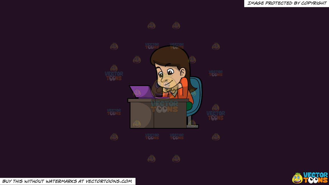 A Woman Watching A Video From Her Laptop On A Solid Purple Rasin 241023 Background thumbnail