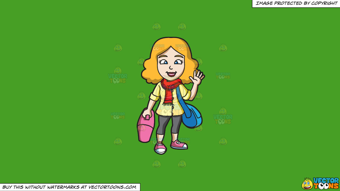 A Woman Waving Goodbye Before She Leaves On A Solid Kelly Green 47a025 Background thumbnail