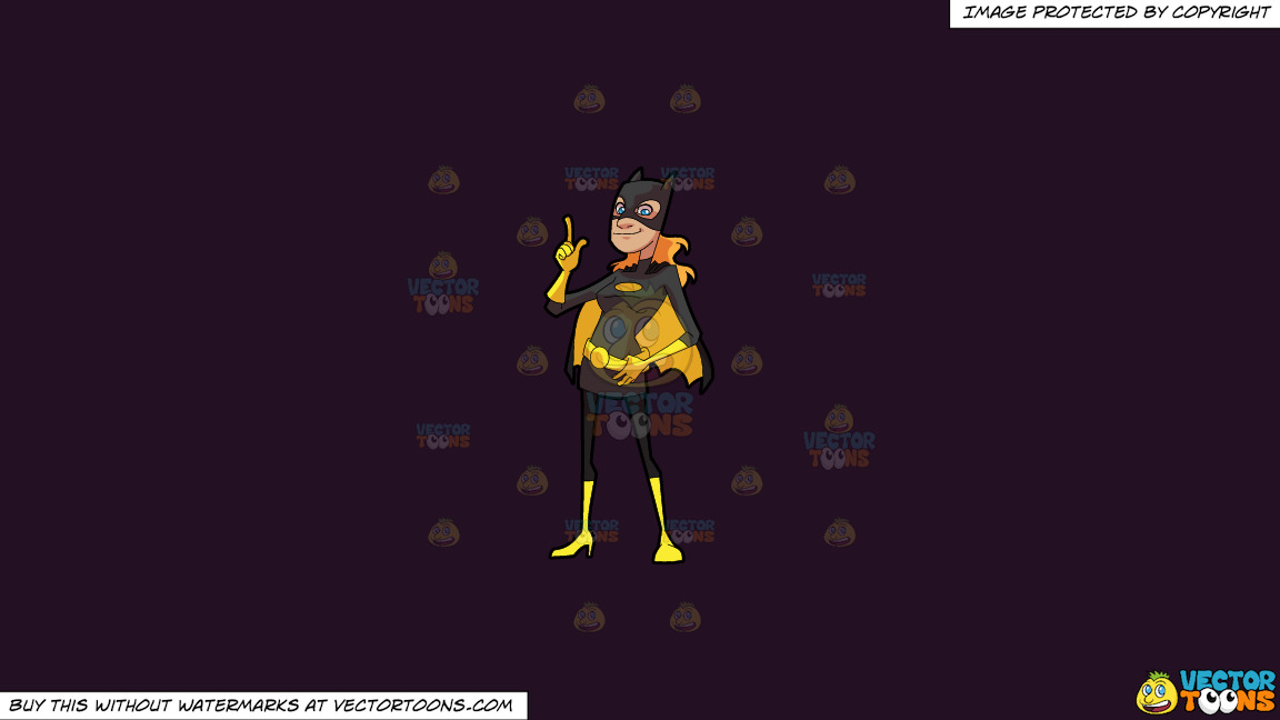 A Woman Wearing A Black And Yellow Costume On A Solid Purple Rasin 241023 Background thumbnail